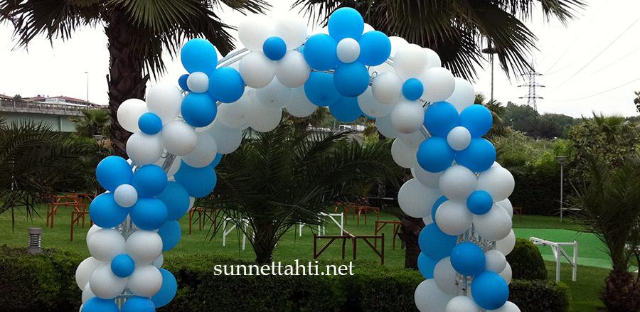 mavi beyaz zincir balon süsleme